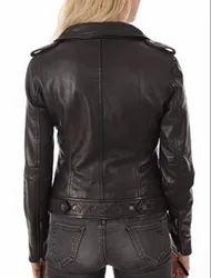 Womens Leather Jackets Motorcycle Bomber Biker Black Real Leather Jacket