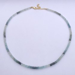 Natural Moss Aquamarine Stone Faceted Rondelle Beads Necklace with Silver Clasp