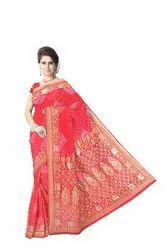 All Over Peach Color Fancy Design  Banarasi Georgette Saree