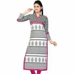Straight 3/4th Sleeve Ladies Printed Cotton Kurti