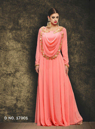 Georgette Ethnic Pink Gowns For Wedding And Parties Pink, Rs 1895 ...