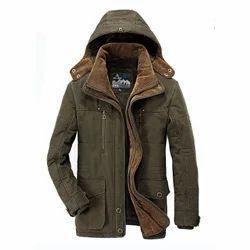 Faux Leather Men''s Winter Jacket