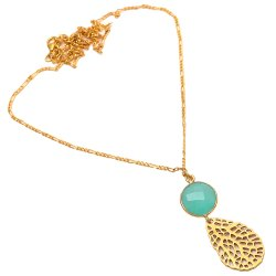 Aqua Chalcedony Designer Necklace