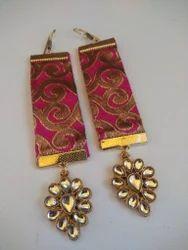 Kundan Fabric Earrings