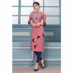 Casual Wear 3/4th Sleeve Fancy Cotton Silk Kurti, Size: S-Xxl, Wash Care: Machine Wash