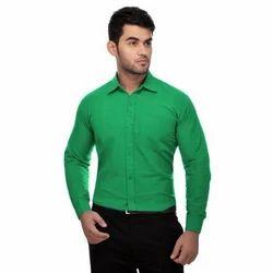 Khadi Full Sleeve Plain Green Shirts, Size: 38 to 46
