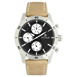 Titan Black Dial Brown Stainless Steel Strap Watch