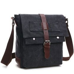 Leather Canvas Mixed Sling Bag
