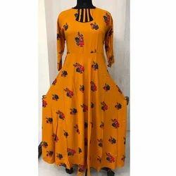Printed Rayon Gown Pattern Kurti