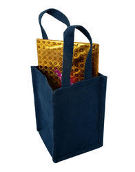 Solid Blue Laminated Jute Dyed Lunch Bag