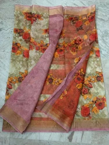 Printed Linen Saree with Blouse Piece