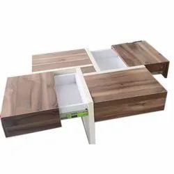 Brown Rectangular Designer Wooden Drawer Table