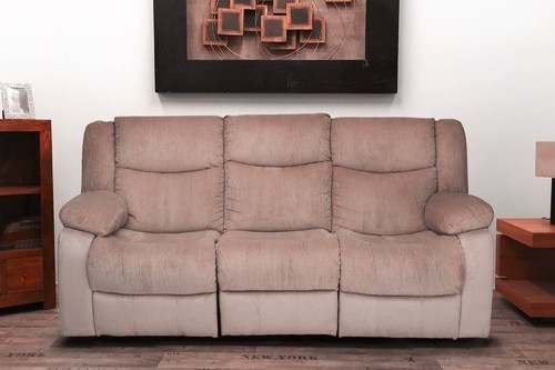Metro 3 Seater Brown Fabric Recliner