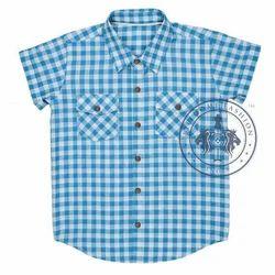 Sky Blue And White Regular Wear Kids Casual Shirt