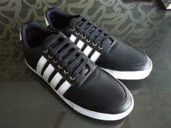 Polymer Black Plain Casual Lace-Up Shoes