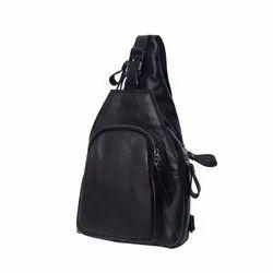 Black Leather Shoulder Backpack