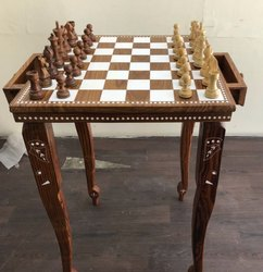 Luxury Inlay Artwork Wooden Chess Table- Indian Artistic