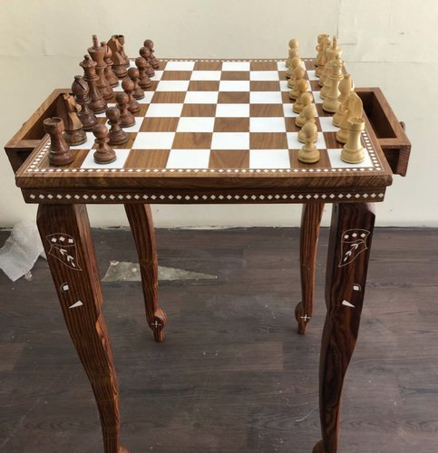 Luxury Inlay Artwork Wooden Chess Table