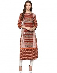 Straight Asymmetric Brick Red Cotton Kurta