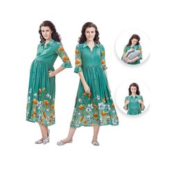 3/4th Sleeves Ladies Printed Maternity Kurti, Size: Large