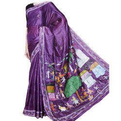 Party Wear Ladies Printed Saree, With Blouse Piece