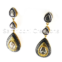 Diamond Polki Silver Earring