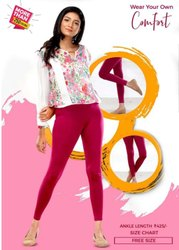 Lycra Cotton Plain Comfort Lady Ankle Length Ladies Leggings, Size: Free Size