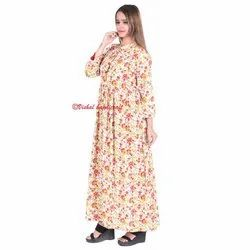 Cotton Floral Printed Women's Long Gown Dress