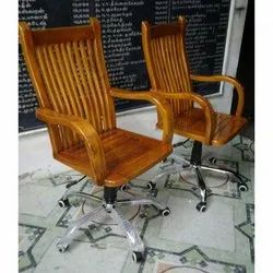 Hardwood Brown Wooden Revolving Chair, No Of Legs: 5, for Office