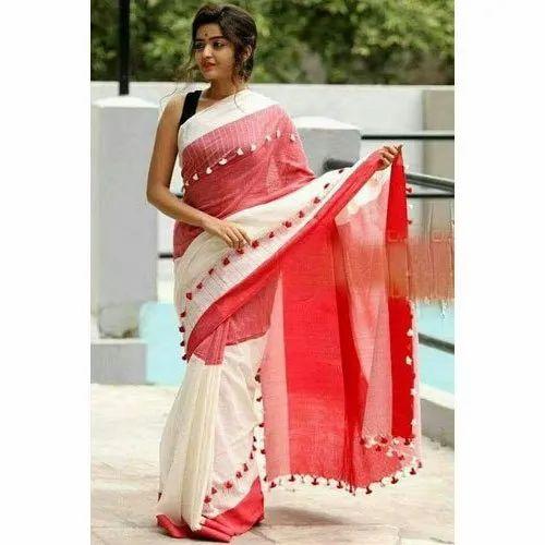 36a1295b47a Pompom Saree - Ladies Pompom Red Saree Manufacturer from Kolkata