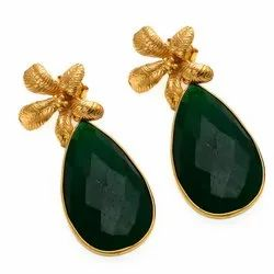 Dyed Emerald Flower Post Earrings