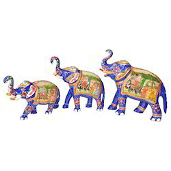 Metal Elephant With Raja Rani Painting Work
