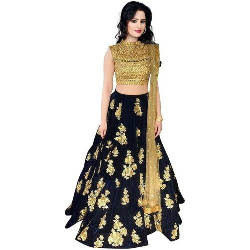c42957510 Taffeta Silk Blue & Gold Embroidered Semi Stitched Lehenga Choli and Dupatta  Set