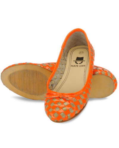 c174b88cb8b Women Woven Leather Orange And Taupe Ballerinas Sandal