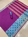 Women's Jacquard Weaving Border Cotton Silk Saree