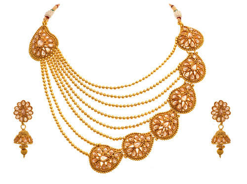 Golden Jfl Gold Plated Bead Polki Diamond Designer Necklace Set