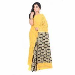 Cotton Yellow Gurjari Sarees, Length: 6.5 m
