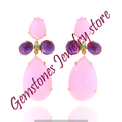 Chalcedony Gold Plated Earrings