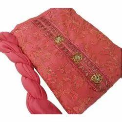 Chanderi Party wear Ladies Pink Designer Suit