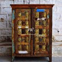 Hotel Furniture - Vintage Rustic Storage Cabinet - Resort Furniture Accent - Reclaimed Wood Cabinet