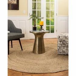 Brown Plain Round Jute Rug