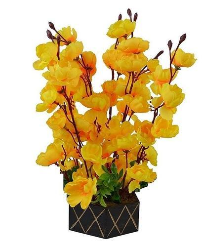 Artificial yellow orchid flowers with wooden pot 17 inch kritim artificial yellow orchid flowers with wooden pot 17 inch mightylinksfo