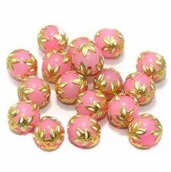 Golden Meenakari Glass Round Beads