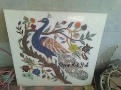 Marble Wall Panel With Peacock Carving