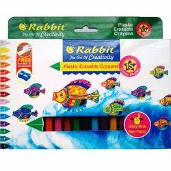 Upto 24 Colors Rabbit 15 Shade Plastic Erasable Crayons, 15 Shades