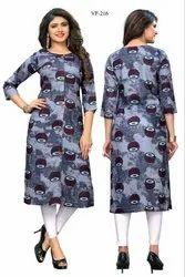 Casual Wear Printed Rayon Kurti