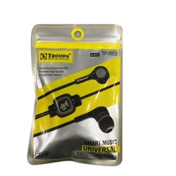 Black Troops Noise Cancellation Wired Earphone, Model Number: Tp-7022, Packaging Type: Packet