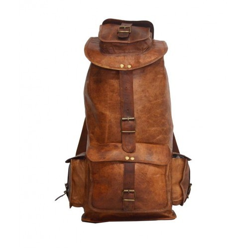 61a4b7481c 16 Inch Pranjals House Brown Leather Backpack