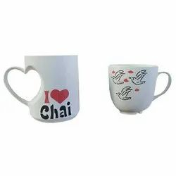 Plain Heart Shape Ceramic Tea Mug, For Gifting, Capacity: 300 Ml