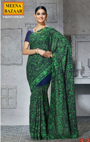 1c8a24c5a6 Blue Party Wear Embroidered Saree Mbjsf1105grn